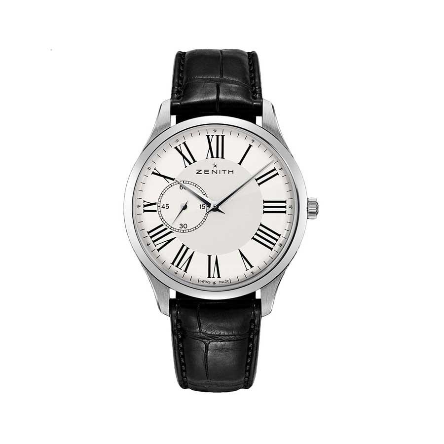 Elite Ultra Thin White Dial Black Leather Men's Watch