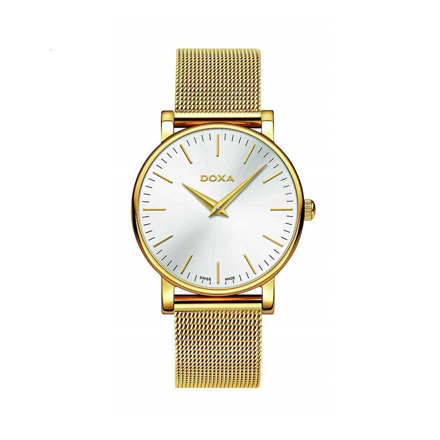 D-Light Silver Dial PVD Yellow Gold Quartz Ladies Watch