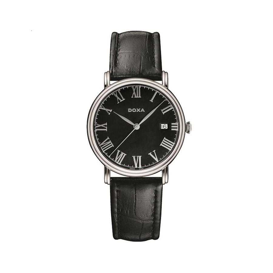 Royal Quartz Black Dial Black Leather Men's Watch