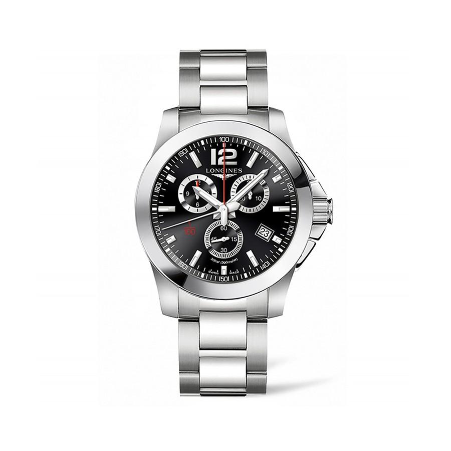 Conquest Quartz Stainless Steel Black Dial Mens Watch L3.800.4.56.6