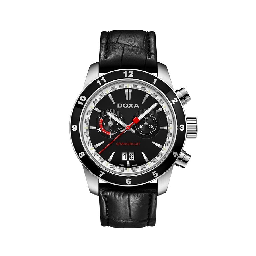 Grancircuit Chronograph Black Dial Black LEather Men's Watch