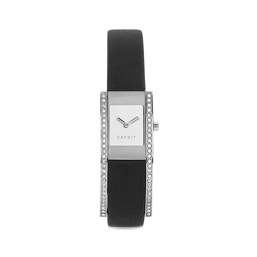 ESPRIT Silver Dial Black Leather Ladies Watch