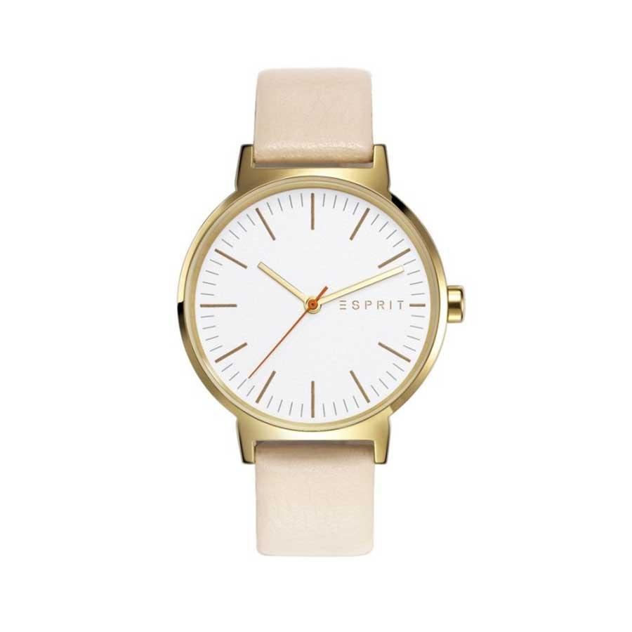 ESPRIT Gold Bazel White Leather Ladies Watch