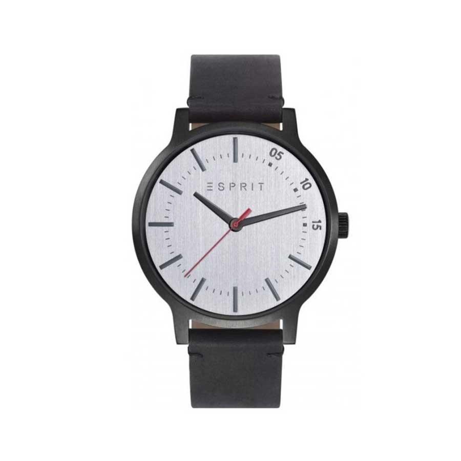 Silver Dial Black Leather Quartz Men's Watch