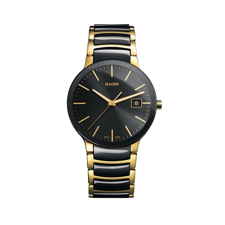Centrix Black Dial Gold PVD Black Ceramic Men's Watch