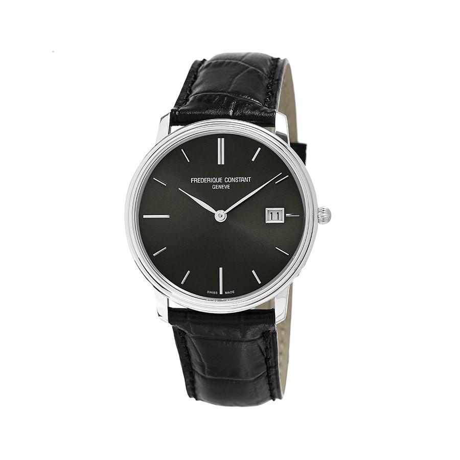 Slim Line Grey Dial Black Leather Men's Watch