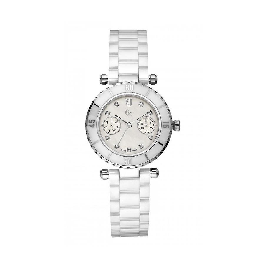 GC Quartz Mother of Pearl White Ceramic Band Ladies Watch