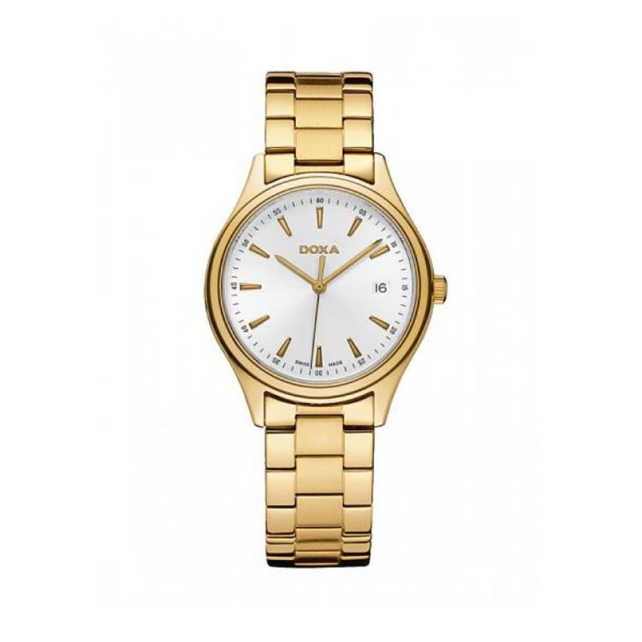 DOXA Tradition Quartz White Dial PVD Gold Men's Watch