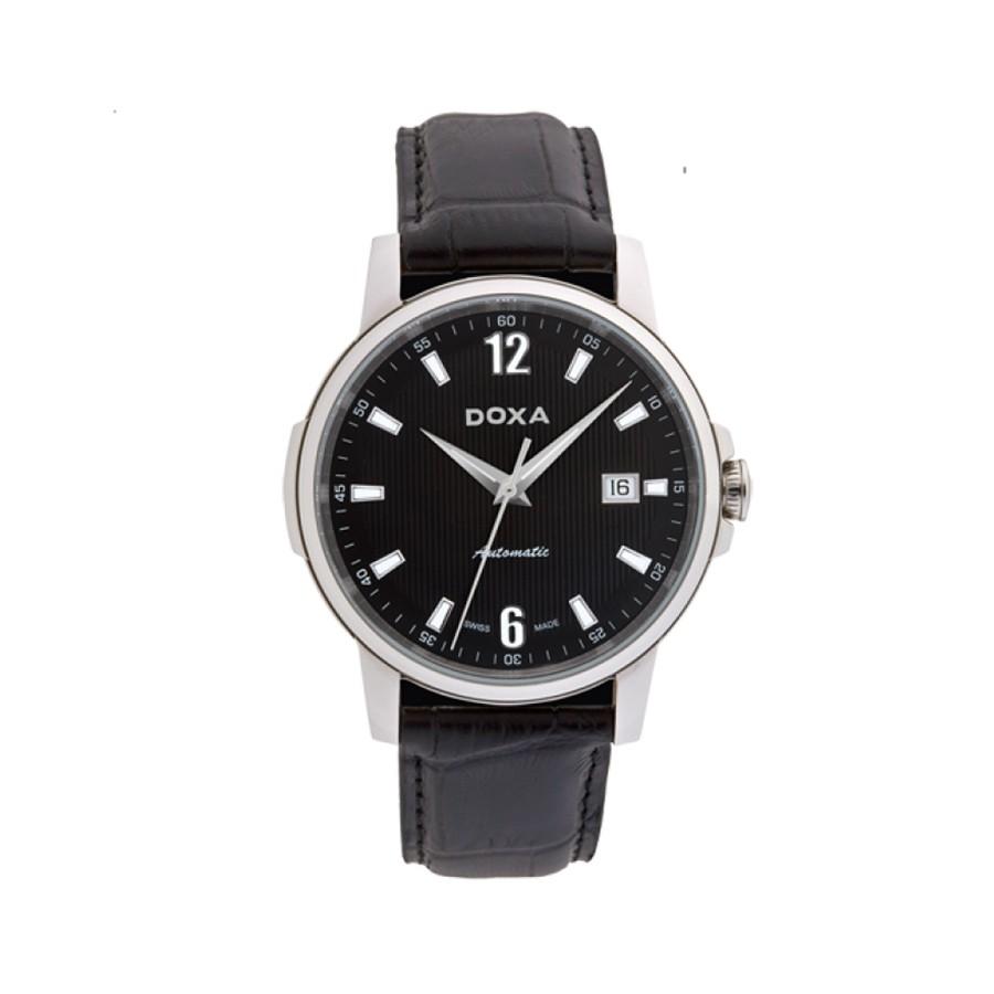 DOXA Ethno Black Dial Black Leather Men's Watch