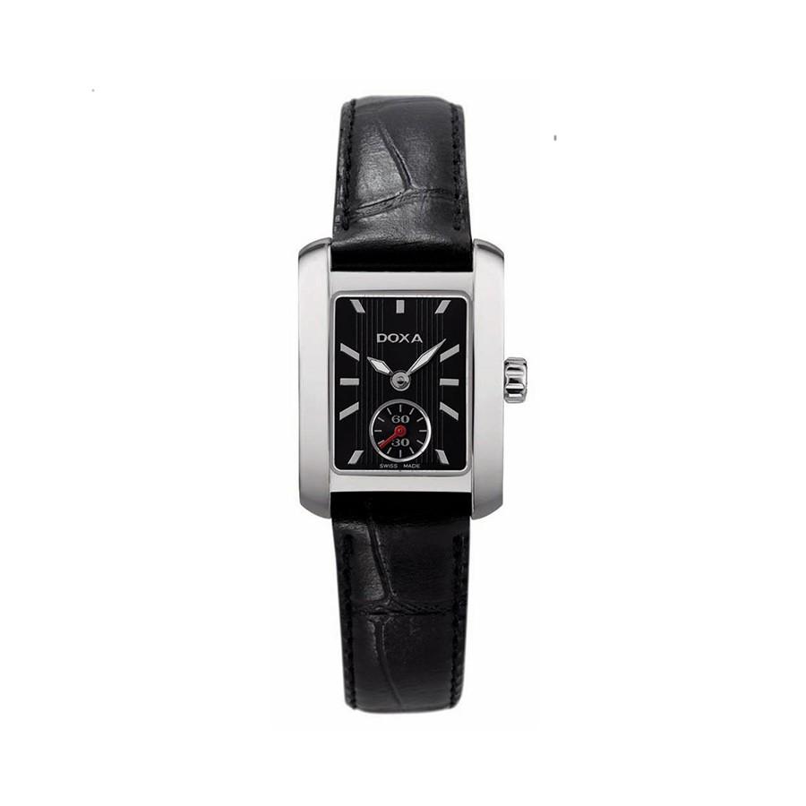 Grafic Square Quartz Black Dial Black Leather Ladies Watch
