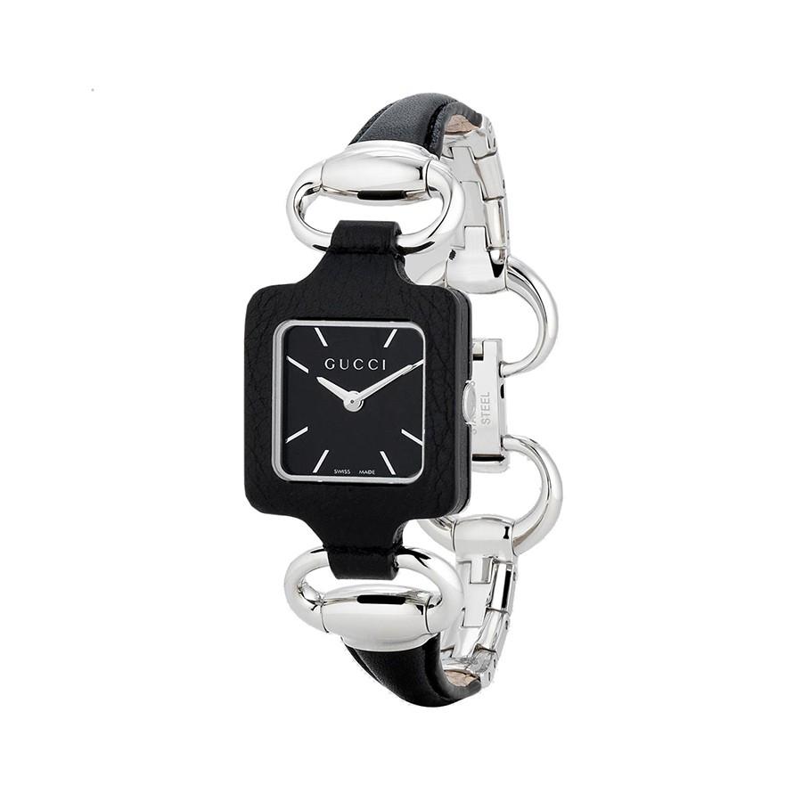 Gucci 1921 Black Dial Black Leather Ladies Watch
