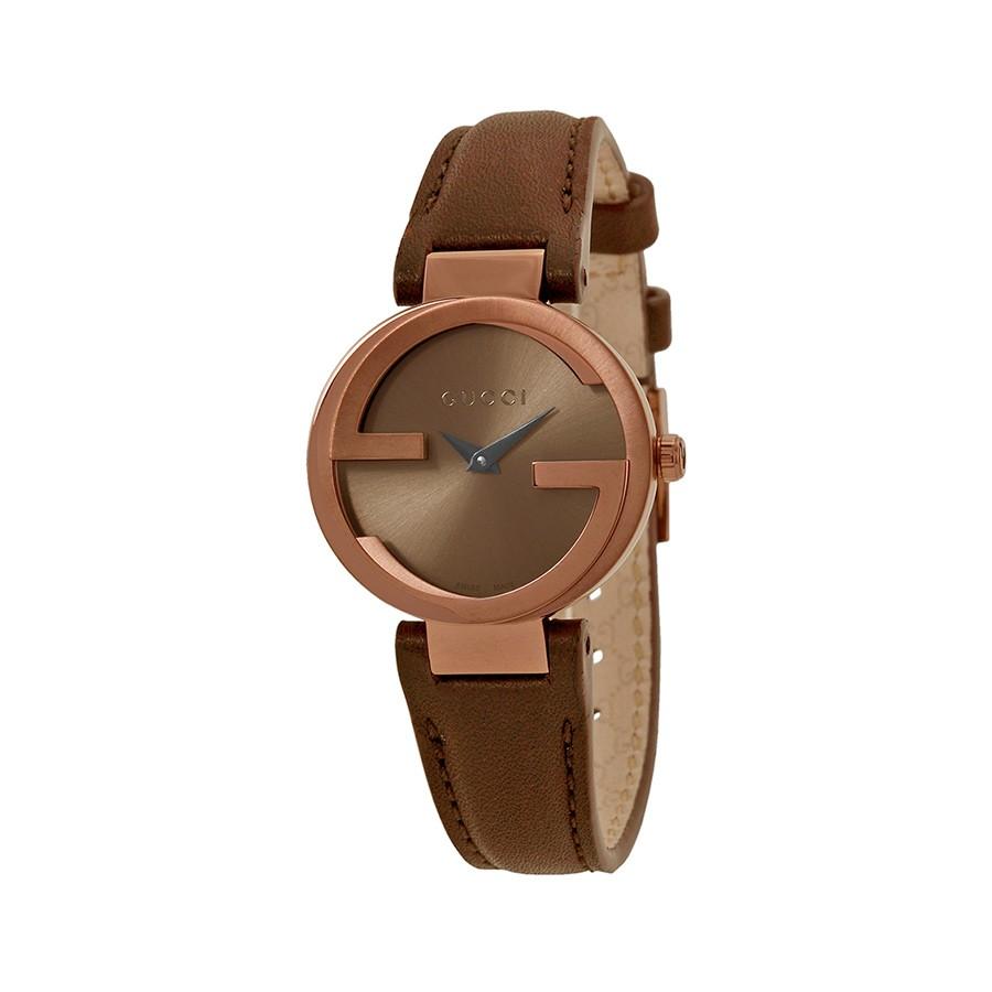 Interlocking G Brown Dial Brown Leather Ladies Watch