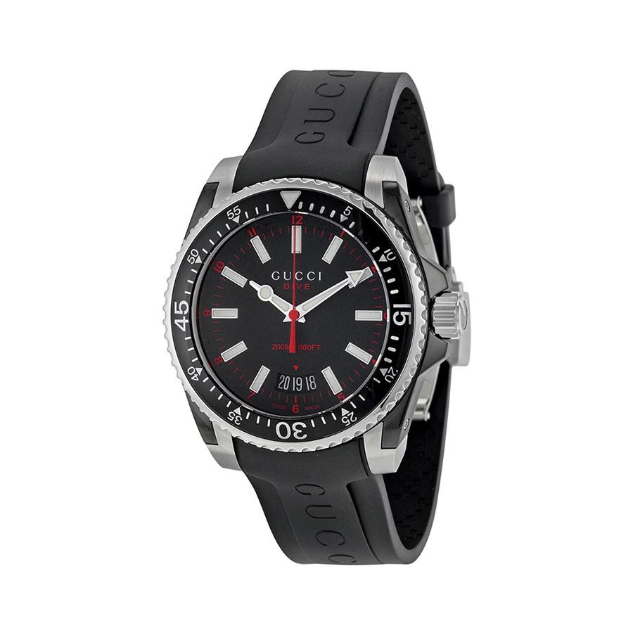 Dive Black Dial Black Rubber Men's Watch