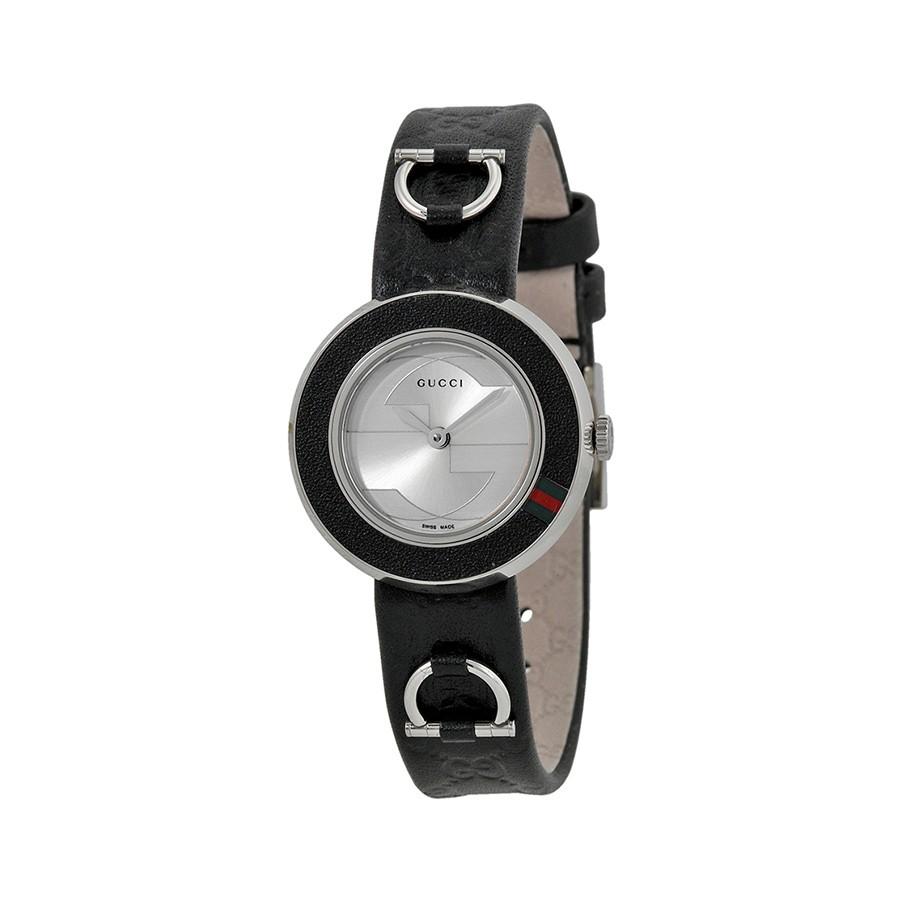 U-Play Silver Dial Black Leather Ladies Watch
