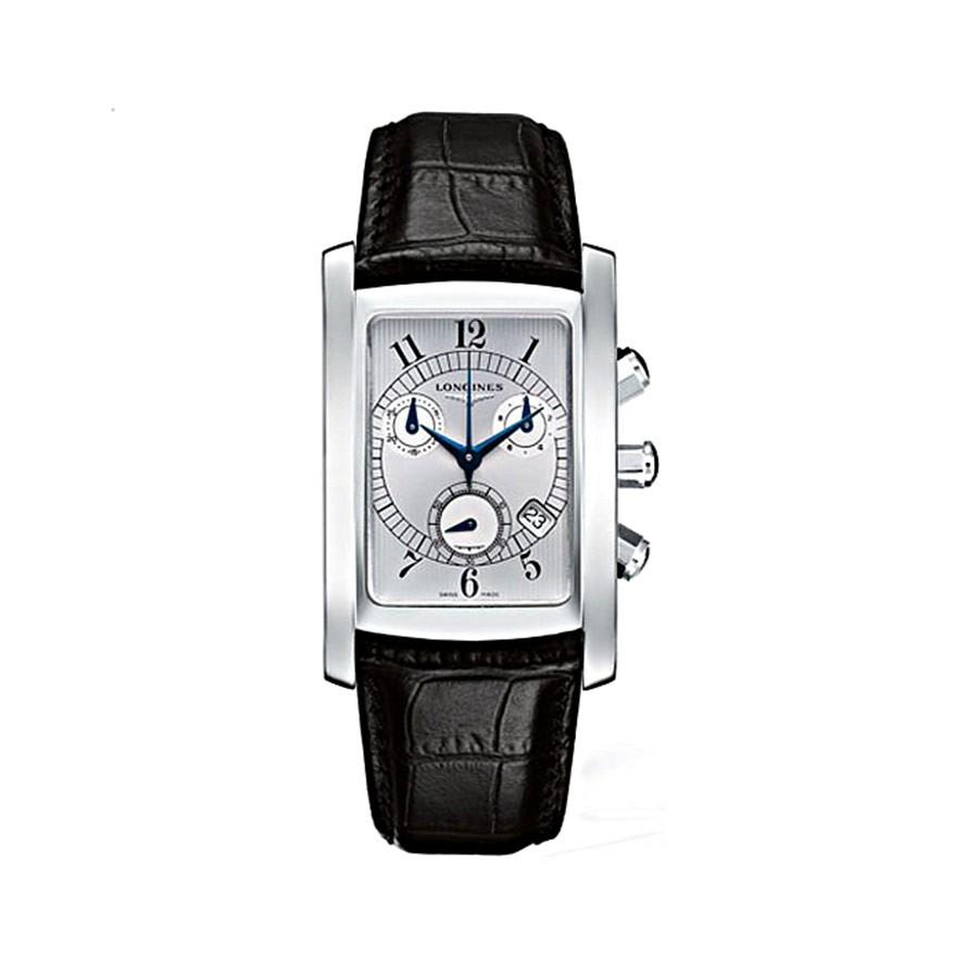 Dolcevita Silver Dial Black Leather Quartz Chronograph Men's Watch