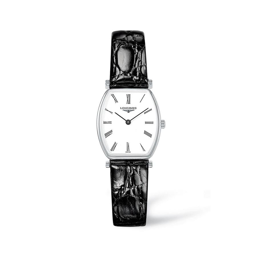 La Grande Classique Tonneau White Dial Black Leather Ladies Watch