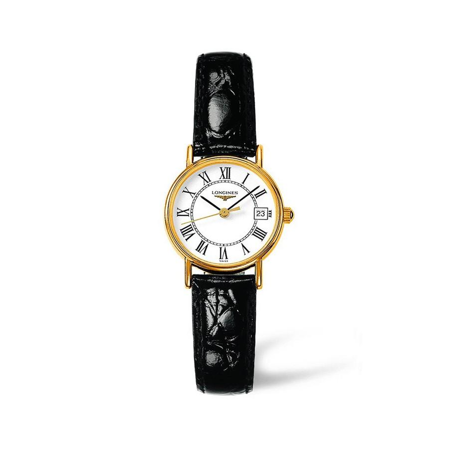 Presences White Dial Black Leather Ladies Watch