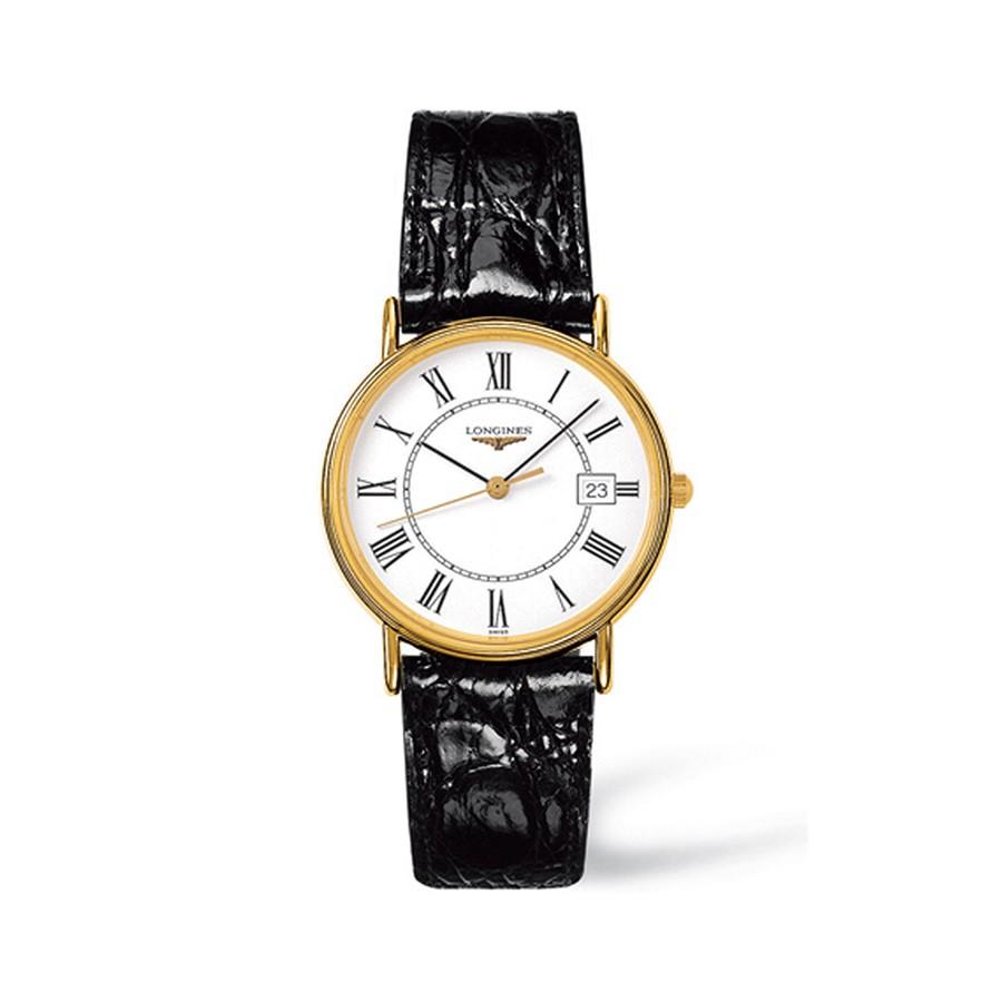 Presence White Dial Black Leather Men's Watch