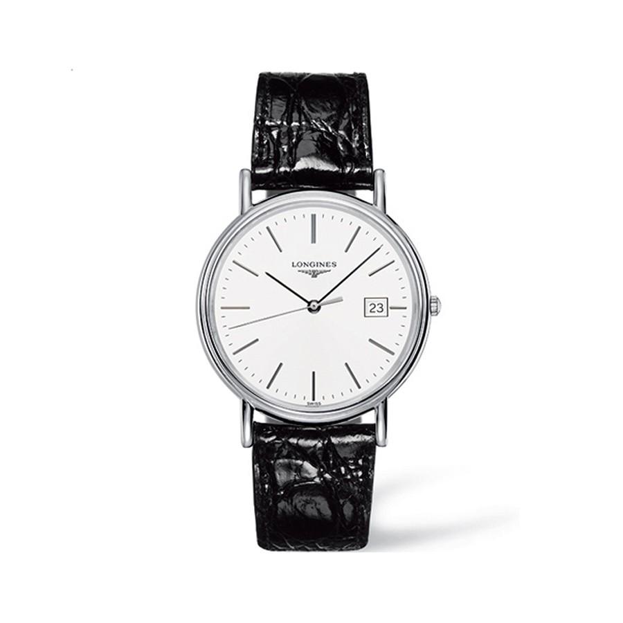 Présence White Dial Black Leather Men's Watch