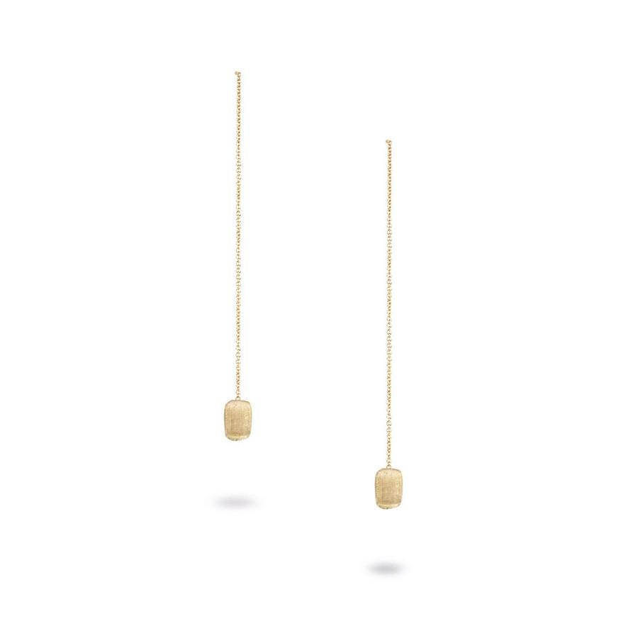 Delicati 18K Yellow Gold Rectangle Bead Thread Through Earrings
