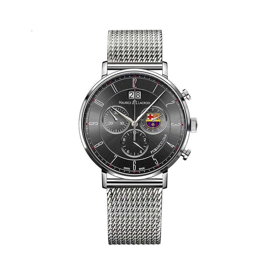 MAURICE LACROIX Eliros Black Dial Steel & Fabric Bands Men's Watch EL1088-SS002-320-1