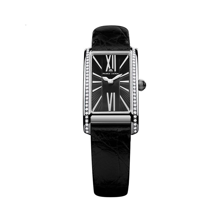 Fiaba 58 Diamonds 0.39 Black Leather Ladies Watch