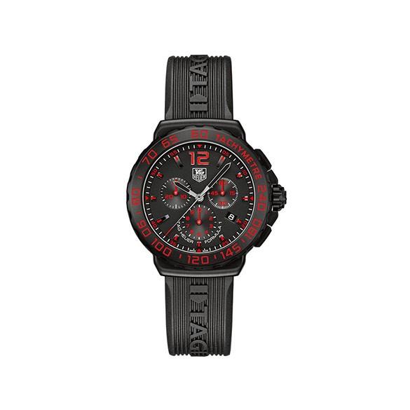TAG HEUER Formula 1 Chronograph Black Dial Black Rubber Men's Watch
