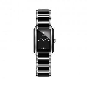 Integral Quartz Black Dial Ceramic and Stainless Steel Ladies Watch